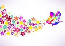 Abstract background with butterfly and flowers Stock Image