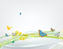 Abstract background with many butterflies. Abstract background with butterfly and lines stock illustration