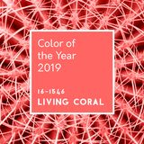 Inscription Living Coral color of the Year 2019 on Cactus Abstra. Abstract background. Cactus spines in trendy Living Coral pastel color. Inscription color of stock illustration