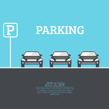 Abstract background with cars. And road sign. Parking zone. Vector element of graphical design. Flat style stock illustration