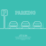 Abstract background with cars and road sign. Parking zone. Vector element of graphical design. Flat style stock illustration