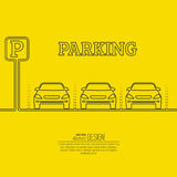 Abstract background with cars and road sign. Parking zone. Vector element of graphical design. Flat style royalty free illustration