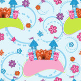 Abstract background with cartoon castle. Seamless pattern with cartoon castle stock illustration