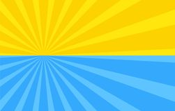 Abstract background with cartoon rays of yellow and blue color. Sun and ocean, summer template for your projects. The cartoon sun. Flat style Royalty Free Illustration