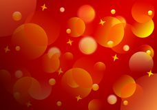 Abstract background, cdr vector. Red abstract background with blurred golden spheres and stars, vector format Royalty Free Stock Image