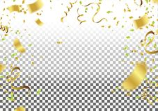Abstract background celebration gold confetti. vector background. Defocused golden confetti, glitters Isolated on a transparent Royalty Free Stock Photography