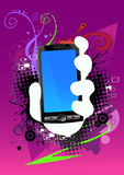 Abstract background and cell phone. Vector illustartion, cell phone in hand Stock Photography