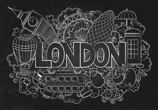 Abstract background chalkboard with hand drawn text London. Hand lettering. Template for advertising, postcards, banner Stock Photography