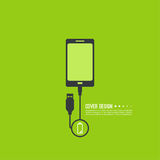 Abstract background with charge. Mobile phones. usb cable is connected to the phone. The concept charging. Vector. smartphone is connected usb cable power Stock Photo