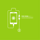 Abstract background with charge. Mobile phones. usb cable is connected to the smartphone. The concept  power charging. Vector. Battery Stock Image
