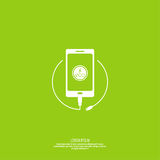 Abstract background with charge. Mobile phones. usb cable is connected to the smartphone. The concept  power charging. Vector. Renewable green energy Eco Stock Photo