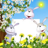 Abstract background with cheerful hares and the po. Ster. vector illustration stock illustration