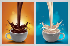 Abstract background with chocolate and milk splash, high detaile. A set of two cups with chocolate and milk. Highly realistic illustration with a splash effect vector illustration