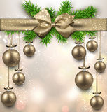 Abstract background with christmas balls. Golden christmas balls background. Vector illustration stock illustration