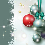 Abstract background with Christmas baubles. Stars and bow royalty free illustration