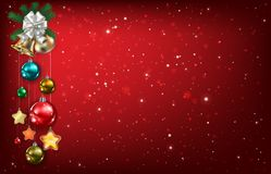 Abstract background with Christmas bells and decorations Stock Image
