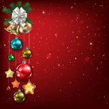Abstract background with Christmas bells and decorations Stock Photo