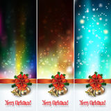 Abstract background with Christmas bells and snowflakes Royalty Free Stock Images