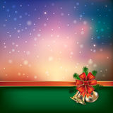 Abstract background with Christmas bells and snowflakes. Abstract blue green background with Christmas bells and snowflakes vector illustration