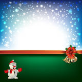 Abstract background with Christmas bells and snowflakes. Abstract blue green background with Christmas bells and snowman royalty free illustration