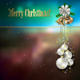 Abstract background with Christmas decorations. Bells and stars stock illustration