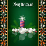 Abstract background with Christmas decorations. And candle on green Royalty Free Stock Images