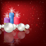 Abstract background with Christmas decorations and candle Royalty Free Stock Images