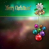 Abstract background with Christmas decorations. Abstract celebration background with Christmas decorations stars and bells royalty free illustration
