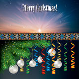 Abstract background with Christmas decorations. Abstract celebration background with white Christmas decorations and pine branch Royalty Free Stock Images