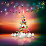 Abstract background with Christmas decorations. Abstract background with Christmas lights decorations and tree Royalty Free Stock Images
