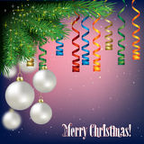 Abstract background with Christmas decorations. And pine branch Stock Photography