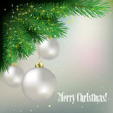 Abstract background with Christmas decorations and pine branch. Abstract background with white Christmas decorations and pine branch Stock Photography