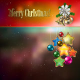 Abstract background with Christmas decorations. Stars and bells royalty free illustration