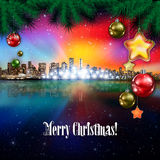 Abstract background with Christmas decorations. Abstract stars celebration illustration with panorama of city and pine branch Stock Photos