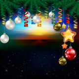 Abstract background with Christmas decorations. Abstract stars celebration illustration with pine branch and Christmas decoration Royalty Free Stock Images