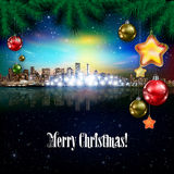 Abstract background with Christmas decorations. Abstract stars celebration illustration with pine branch panorama of city Stock Photos