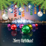 Abstract background with Christmas decorations. Abstract stars Christmas illustration with panorama of city and pine branch Royalty Free Stock Photo
