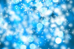 Abstract background of christmas lights. Abstract background of christmas blue lights with snow Royalty Free Stock Photo