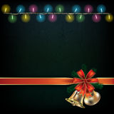 Abstract background with Christmas lights. And bells vector illustration