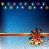 Abstract background with Christmas lights. And bells on blue stock illustration