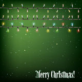 Abstract background with Christmas lights. On green stock illustration