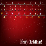 Abstract background with Christmas lights. On red Royalty Free Stock Image