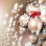 Abstract background with Christmas silver baubles. Stars and bow Royalty Free Stock Image