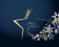 Abstract background with Christmas star and Merry Christmas. Text with many snowflakes - gold version vector illustration