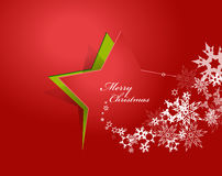 Abstract background with Christmas star and Merry Christmas. Text with many snowflakes - red version Stock Image