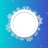 Abstract background Christmas style. Beautiful figured frame of snowflakes. Bright juicy colors Royalty Free Stock Photo