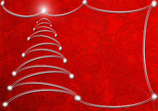 Abstract background with christmas tree. Red abstract background with christmas tree and copyspace royalty free illustration