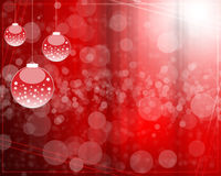 Abstract background with Christmas tree balls red. And colored lights on Christmas vector illustration
