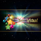 Abstract background with Christmas tree. Abstract black background with Christmas decorations and stars Stock Images