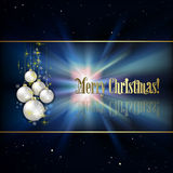 Abstract background with Christmas tree. Abstract black background with white Christmas decorations and stars Stock Image